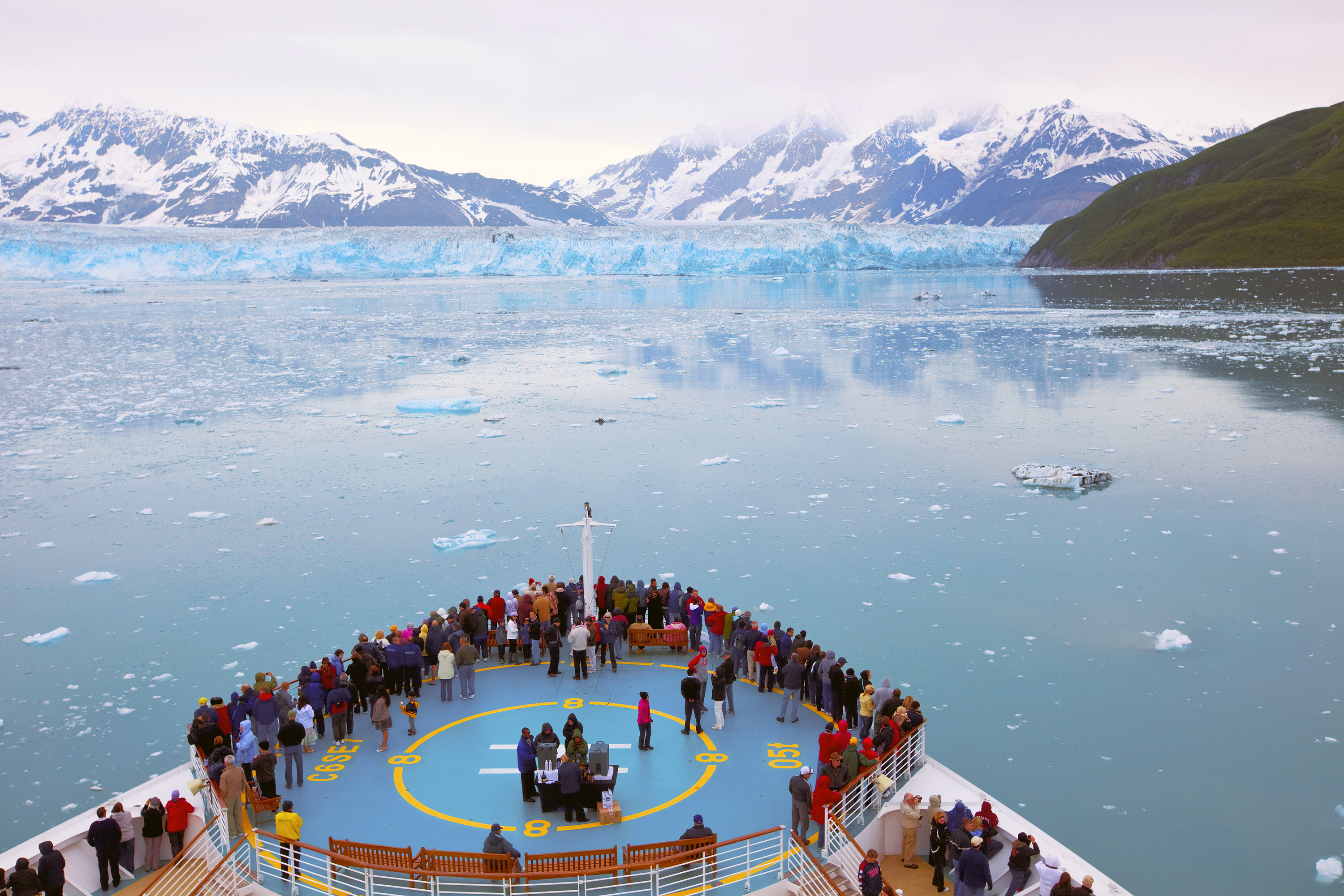 RD, Radiance of the Seas, Hubbard Glacier, Alaska, overhead view of front of ship''s top deck, people on deck looking out at glacier, ice floes, mountains,